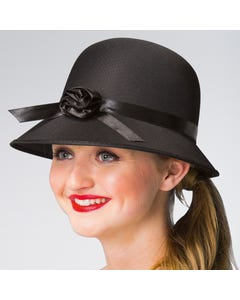 1920s Black Hat with Flower Detail