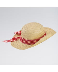 Straw Hat With Scarf Trim (Colour Will Vary)