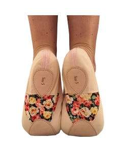 Basilica Floral Panelled Childs Canvas Ballet Shoes