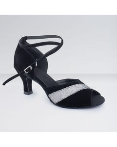 1st Position Black & White Nubuck Buckle Fastening Ballroom Shoes