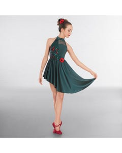 1st Position Poppy Sequin Lyrical Dress with Asymmetrical Skirt