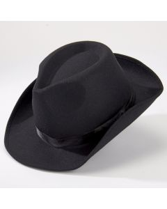 Black Quality Gangster Hat with inner elastic band