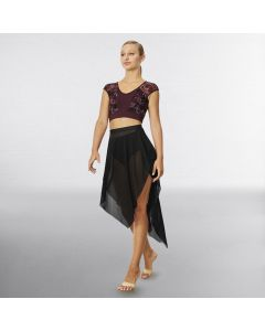 Bloch Mierya Extended Hem Side Slit Mesh Skirt
