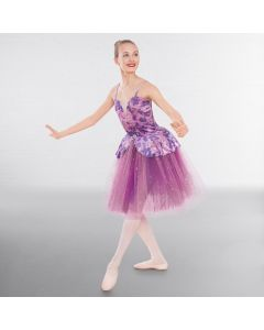 1st Position Floral Velour Romantic Tutu with Glitter Net Skirt