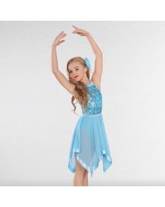 1st Position Halterneck Sequin Lyrical Dress with Handkerchief Skirt