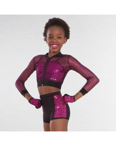 1st Position Glitter Mesh Jacket with Sequin Crop Top and Shorts