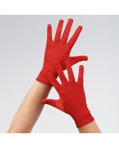 Red Short Satin Gloves Adult One Size