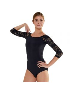 Plume 3/4 Lace Sleeved Scoop Back Leotard