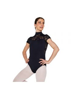 Plume Short Sleeve High Neck Lace Panel Leotard