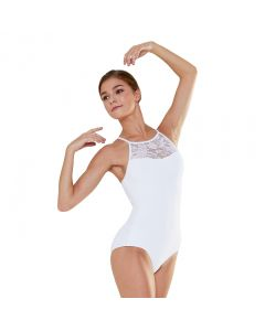 Plume Lace Panel High Neck Camisole Leotard