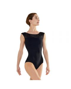 Plume Velvet Collection Boat Neck Cap Sleeve Leotard