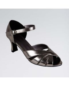 Grace Pewter PU Ballroom Shoe with Ankle Strap