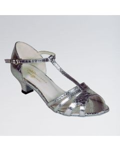 Elena Silver Mock-Croc PU Ballroom Shoe with a T-bar and Slip Buckle
