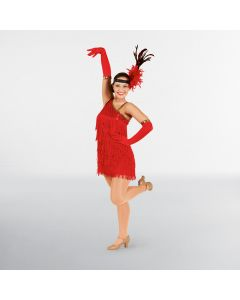 Red Sequin Flapper Dress Adult One Size