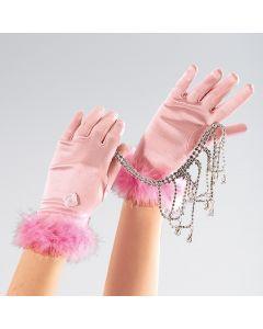 Childs Pink Satin Marabou Gloves