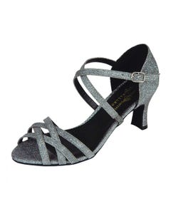 Alice Black Lamé Strappy Ballroom Shoe with Cross Over Instep